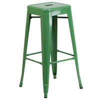 Flash Furniture CH-31320-30-GN-GG 30 inch Green Stackable Metal Indoor / Outdoor Backless Bar Height Stool with Square Drain Seat