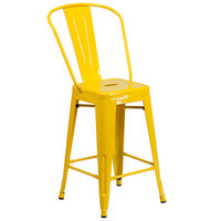 Flash Furniture CH-31320-24GB-YL-GG 24 inch Yellow Galvanized Steel Counter Height Stool with Vertical Slat Back and Drain Hole Seat