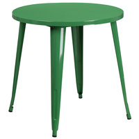 Flash Furniture CH-51090-29-GN-GG 30 inch Green Metal Indoor / Outdoor Round Cafe Table