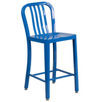 Flash Furniture CH-61200-24-BL-GG 24 inch Blue Metal Indoor / Outdoor Counter Height Stool with Vertical Slat Back