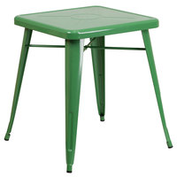 Flash Furniture CH-31330-29-GN-GG 24 inch Green Metal Indoor / Outdoor Square Cafe Table