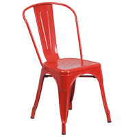 Flash Furniture CH-31230-RED-GG Red Stackable Galvanized Steel Chair with Vertical Slat Back and Drain Hole Seat
