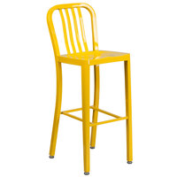 Flash Furniture CH-61200-30-YL-GG 30 inch Yellow Metal Indoor / Outdoor Bar Height Stool with Vertical Slat Back