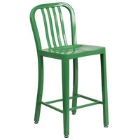 Flash Furniture CH-61200-24-GN-GG 24 inch Green Metal Indoor / Outdoor Counter Height Stool with Vertical Slat Back