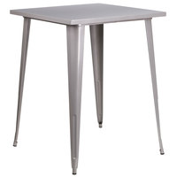 Flash Furniture CH-51040-40-SIL-GG 31 1/2 inch Silver Metal Indoor / Outdoor Square Bar Height Table