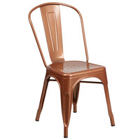 Flash Furniture ET-3534-POC-GG Copper Stackable Galvanized Steel Chair with Vertical Slat Back and Drain Hole Seat