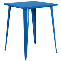 Flash Furniture CH-51040-40-BL-GG 31 1/2 inch Blue Metal Indoor / Outdoor Square Bar Height Table