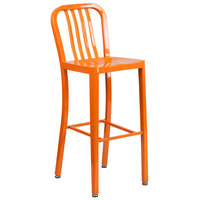 Flash Furniture CH-61200-30-OR-GG 30 inch Orange Metal Indoor / Outdoor Bar Height Stool with Vertical Slat Back