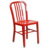 Flash Furniture CH-61200-18-RED-GG Red Metal Indoor / Outdoor Chair with Vertical Slat Back