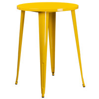 Flash Furniture CH-51090-40-YL-GG 30 inch Yellow Metal Indoor / Outdoor Round Bar Height Table