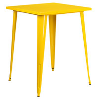 Flash Furniture CH-51040-40-YL-GG 31 1/2 inch Yellow Metal Indoor / Outdoor Square Bar Height Table
