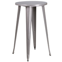 Flash Furniture CH-51080-40-SIL-GG 24 inch Silver Metal Indoor / Outdoor Round Bar Height Table