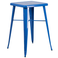 Flash Furniture CH-31330-BL-GG 23 3/4 inch Blue Metal Indoor / Outdoor Square Bar Height Table