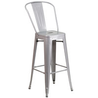 Flash Furniture CH-31320-30GB-SIL-GG 30 inch Silver Galvanized Steel Bar Height Stool with Vertical Slat Back and Drain Hole Seat
