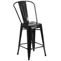 Flash Furniture CH-31320-24GB-BK-GG 24 inch Black Galvanized Steel Counter Height Stool with Vertical Slat Back and Drain Hole Seat