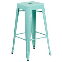 Flash Furniture ET-BT3503-30-MINT-GG 30 inch Mint Green Stackable Metal Indoor / Outdoor Backless Bar Height Stool with Square Drain Seat