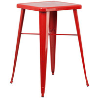 Flash Furniture CH-31330-RED-GG 23 3/4 inch Red Metal Indoor / Outdoor Square Bar Height Table
