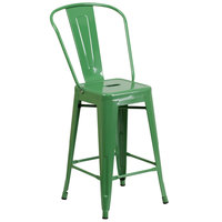 Flash Furniture CH-31320-24GB-GN-GG 24 inch Green Galvanized Steel Counter Height Stool with Vertical Slat Back and Drain Hole Seat