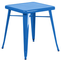 Flash Furniture CH-31330-29-BL-GG 24 inch Blue Metal Indoor / Outdoor Square Cafe Table