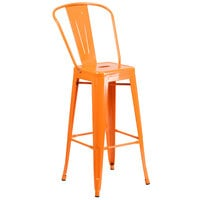 Flash Furniture CH-31320-30GB-OR-GG 30 inch Orange Galvanized Steel Bar Height Stool with Vertical Slat Back and Drain Hole Seat