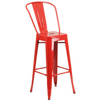Flash Furniture CH-31320-30GB-RED-GG 30 inch Red Galvanized Steel Bar Height Stool with Vertical Slat Back and Drain Hole Seat