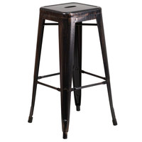 Flash Furniture CH-31320-30-BQ-GG 30 inch Black-Antique Gold Stackable Metal Indoor / Outdoor Backless Bar Height Stool with Square Drain Seat