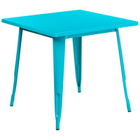 Flash Furniture ET-CT002-1-CB-GG 30 inch Crystal Teal Blue Metal Indoor / Outdoor Square Cafe Table