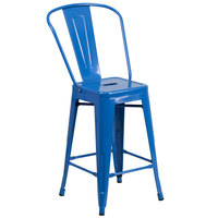 Flash Furniture CH-31320-24GB-BL-GG 24 inch Blue Galvanized Steel Counter Height Stool with Vertical Slat Back and Drain Hole Seat
