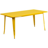 Flash Furniture ET-CT005-YL-GG 31 1/2 inch x 63 inch Yellow Metal Indoor / Outdoor Rectangular Cafe Table