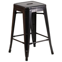 Flash Furniture CH-31320-24-BQ-GG 24 inch Black-Antique Gold Stackable Metal Indoor / Outdoor Backless Counter Height Stool with Square Drain Seat