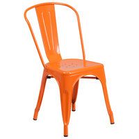 Flash Furniture CH-31230-OR-GG Orange Stackable Galvanized Steel Chair with Vertical Slat Back and Drain Hole Seat