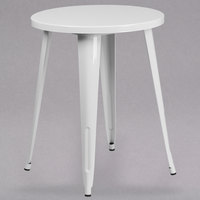 Flash Furniture CH-51080-29-WH-GG 24 inch White Metal Indoor / Outdoor Round Cafe Table