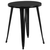 Flash Furniture CH-51080-29-BK-GG 24 inch Black Metal Indoor / Outdoor Round Cafe Table