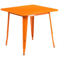 Flash Furniture ET-CT002-1-OR-GG 30 inch Orange Metal Indoor / Outdoor Square Cafe Table