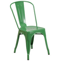 Flash Furniture CH-31230-GN-GG Green Stackable Galvanized Steel Chair with Vertical Slat Back and Drain Hole Seat