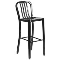 Flash Furniture CH-61200-30-BK-GG 30 inch Black Metal Indoor / Outdoor Bar Height Stool with Vertical Slat Back