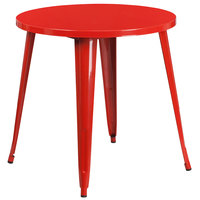 Flash Furniture CH-51090-29-RED-GG 30 inch Red Metal Indoor / Outdoor Round Cafe Table