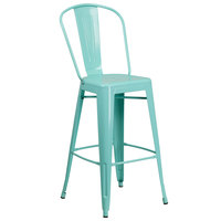 Flash Furniture ET-3534-30-MINT-GG 30 inch Green Mint Galvanized Steel Bar Height Stool with Vertical Slat Back and Drain Hole Seat