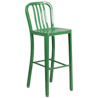 Flash Furniture CH-61200-30-GN-GG 30 inch Green Metal Indoor / Outdoor Bar Height Stool with Vertical Slat Back