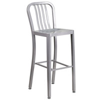 Flash Furniture CH-61200-30-SIL-GG 30 inch Silver Metal Indoor / Outdoor Bar Height Stool with Vertical Slat Back