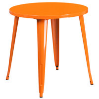 Flash Furniture CH-51090-29-OR-GG 30 inch Orange Metal Indoor / Outdoor Round Cafe Table