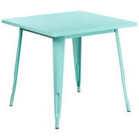 Flash Furniture ET-CT002-1-MINT-GG 30 inch Green Mint Metal Indoor / Outdoor Square Cafe Table