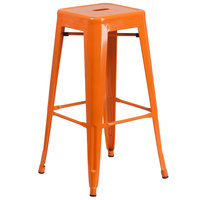 Flash Furniture CH-31320-30-OR-GG 30 inch Orange Stackable Metal Indoor / Outdoor Backless Bar Height Stool with Square Drain Seat