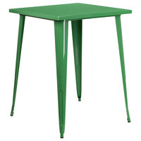 Flash Furniture CH-51040-40-GN-GG 31 1/2 inch Green Metal Indoor / Outdoor Square Bar Height Table