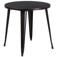 Flash Furniture CH-51090-29-BQ-GG 30 inch Black-Antique Gold Metal Indoor / Outdoor Round Cafe Table