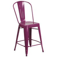 Flash Furniture ET-3534-24-PUR-GG 24 inch Purple Galvanized Steel Counter Height Stool with Vertical Slat Back and Drain Hole Seat