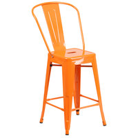 Flash Furniture CH-31320-24GB-OR-GG 24 inch Orange Galvanized Steel Counter Height Stool with Vertical Slat Back and Drain Hole Seat