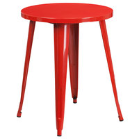 Flash Furniture CH-51080-29-RED-GG 24 inch Red Metal Indoor / Outdoor Round Cafe Table