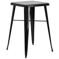 Flash Furniture CH-31330-BK-GG 23 3/4 inch Black Metal Indoor / Outdoor Square Bar Height Table