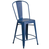 Flash Furniture ET-3534-24-AB-GG 24 inch Distressed Antique Blue Metal Indoor / Outdoor Counter Height Stool with Vertical Slat Back and Drain Hole Seat